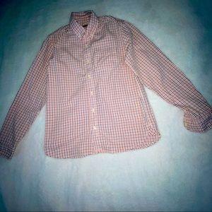 Boys E-Land orange Plaid Long Sleeve Shirt Sz 12